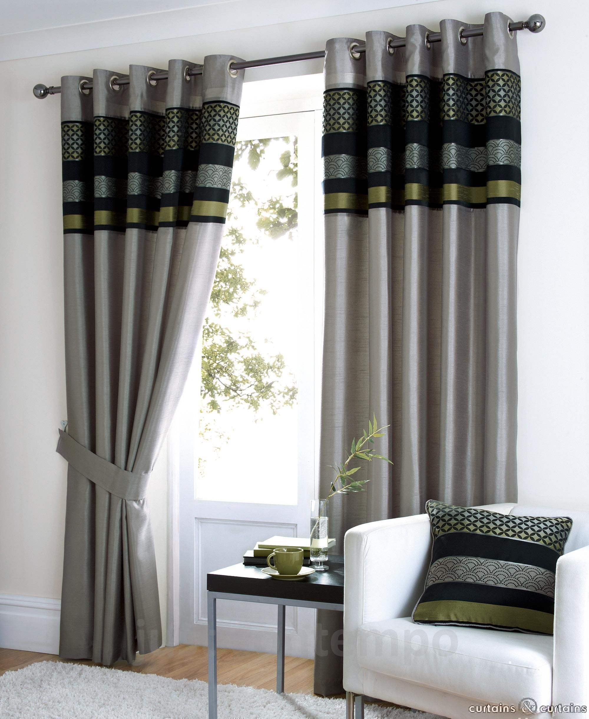 Saturn black silver green luxury eyelet curtain black for Modern living room curtains uk