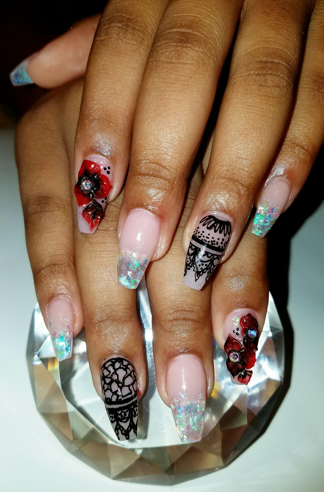 Elegant prom nails with red 3d flowers and black henna | Flirtatious ...