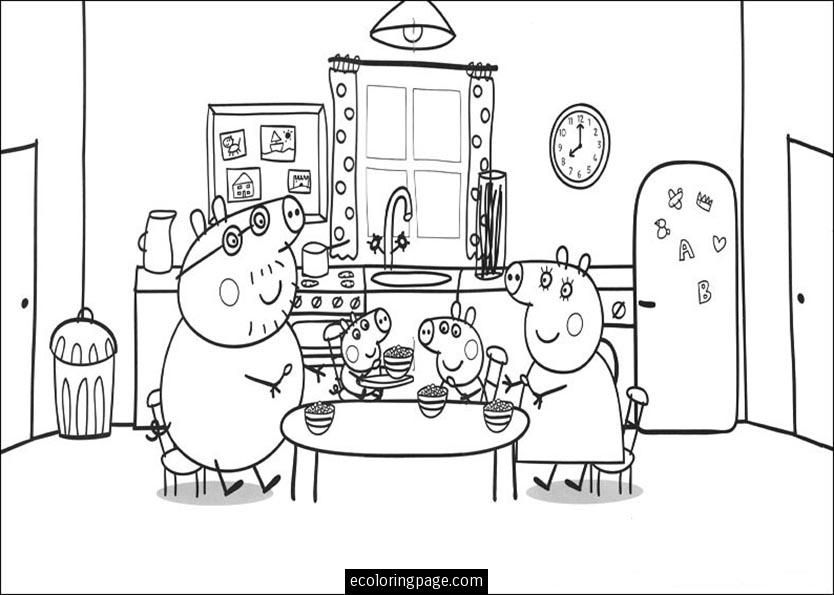 peppa pig and family eating coloring page for kids printable THL
