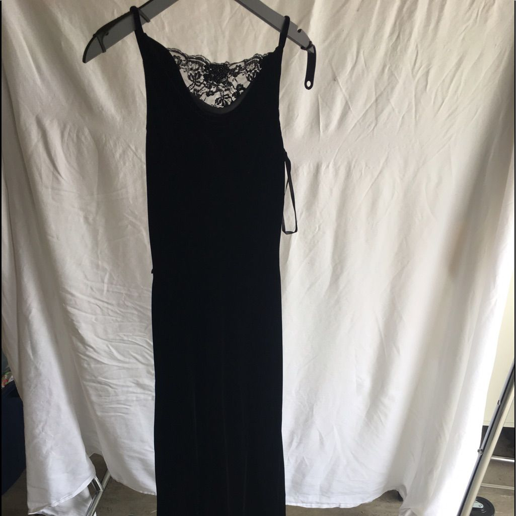 Long black velvet dress products