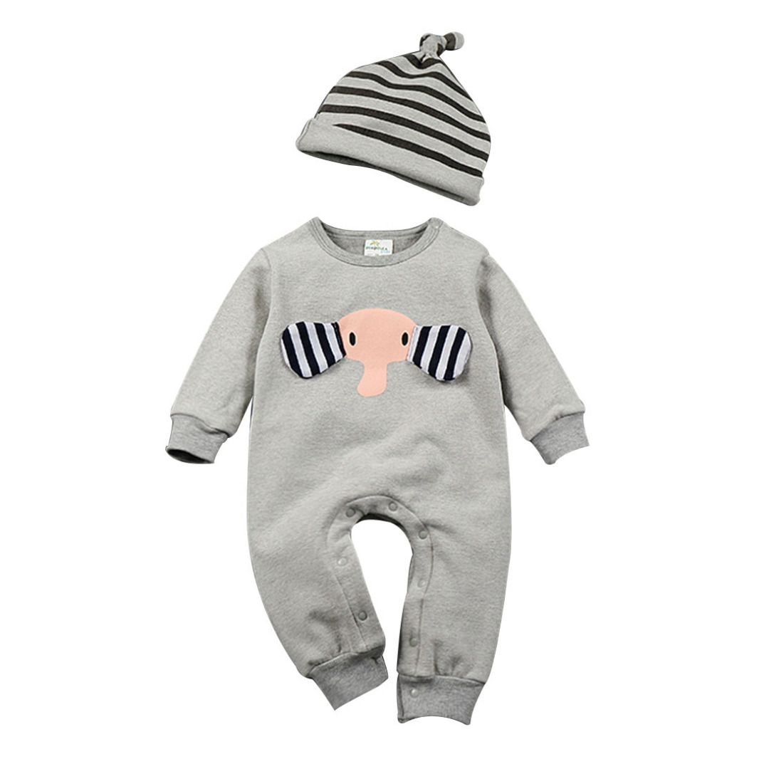 Infant/Toddler's Cute Elephant Graphic Jumpsuit & Striped Hat Set in Grey (Unisex), 20% discount @ PatPat Mom Baby Shopping App