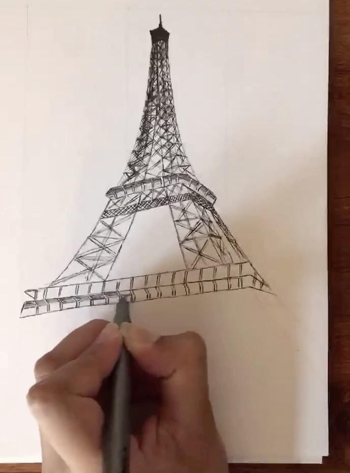 A video of drawing a detail on the Eiffel Tower. The complete drawing is available for physical and digital download through the link below! #drawing #archisketch #eiffeltower #etsyshop #etsyseller