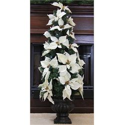 3' Pre-Lit B/O White Artificial Poinsettia Potted Christmas Tree - Clear LED