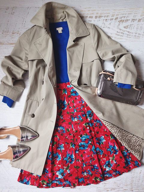 red floral + blue + trench
