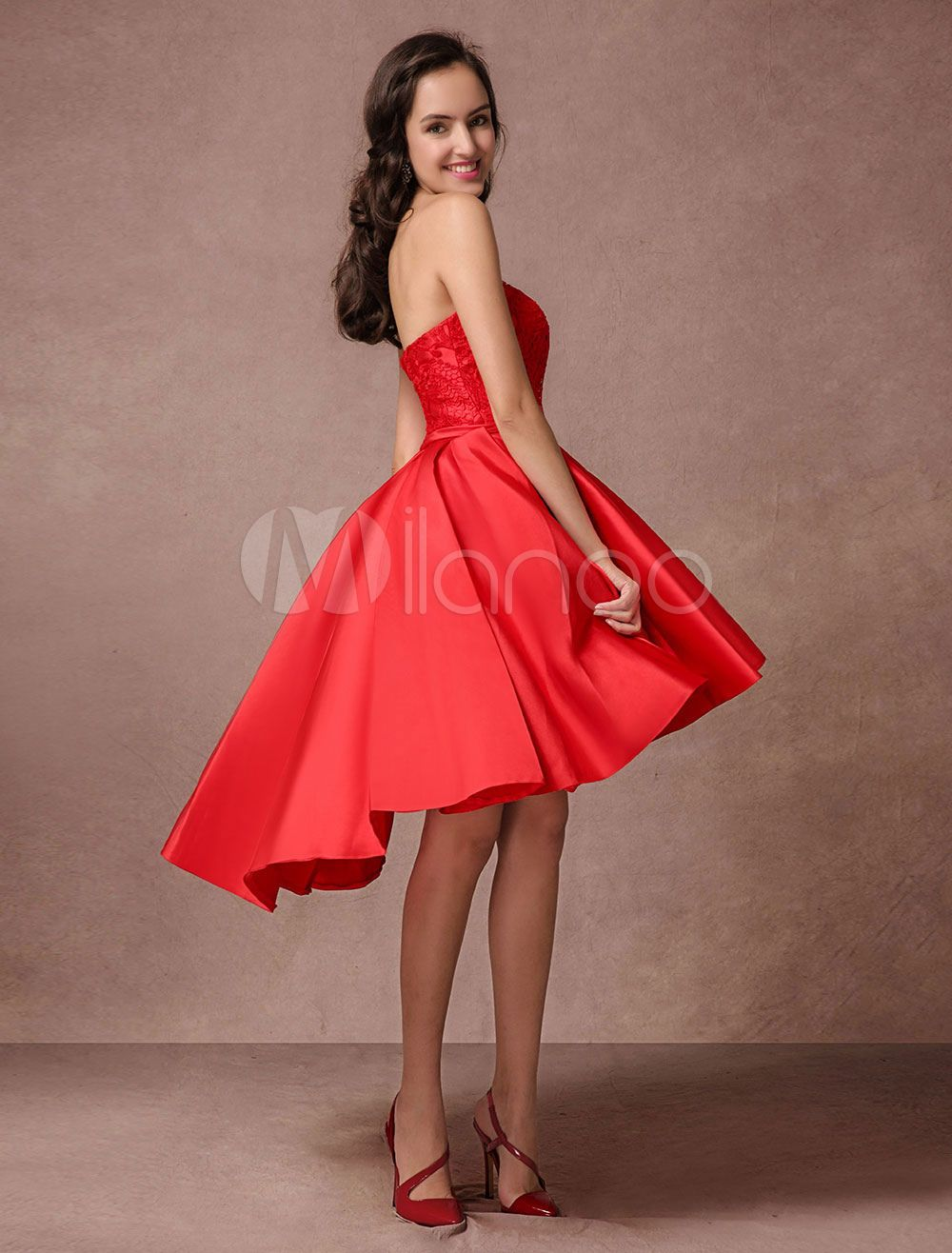 1647102005b Blue Prom Dress 2018 Short Satin Homecoming Dress Strapless Backless High  Low Cocktail Dress  Short