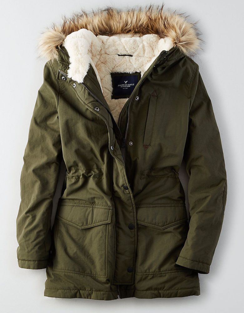 b090d6c083 American Eagle AE Women s Fur Hooded Sherpa Long Parka Jacket Coat Green  Small  AmericanEagle  Parka  Outdoor