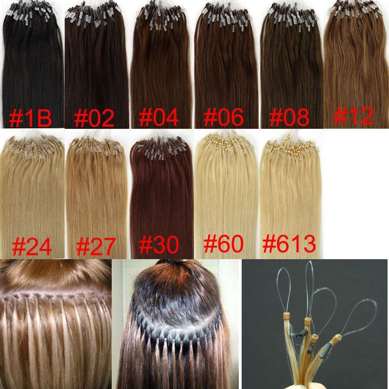 New 100s 18remy Human Hair Extensions Easy Loop Micro Rings Beads