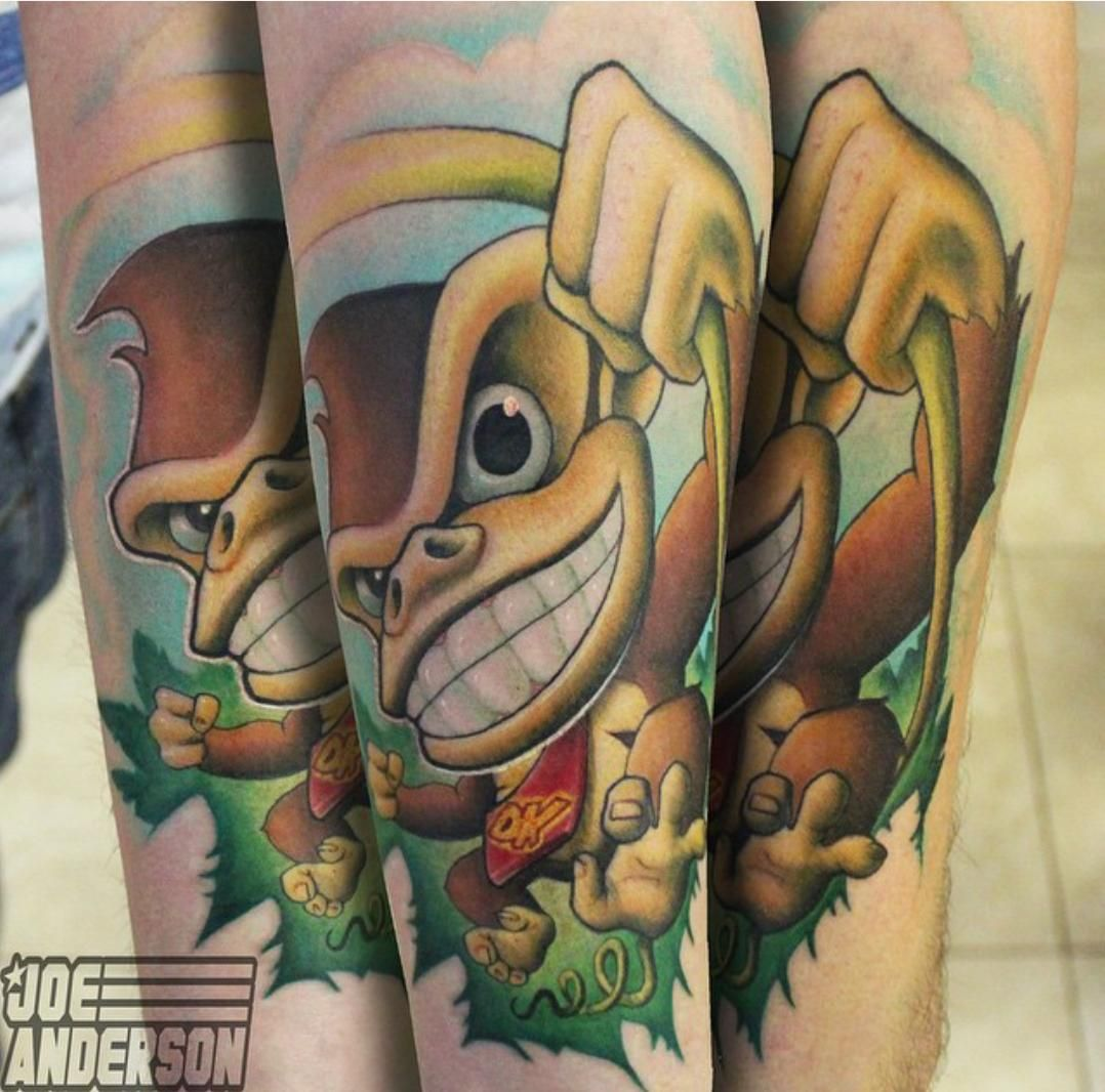 Tattoo Ideas Gaming: Work On Video Game Sleeve, New School Donkey Kong, Joe