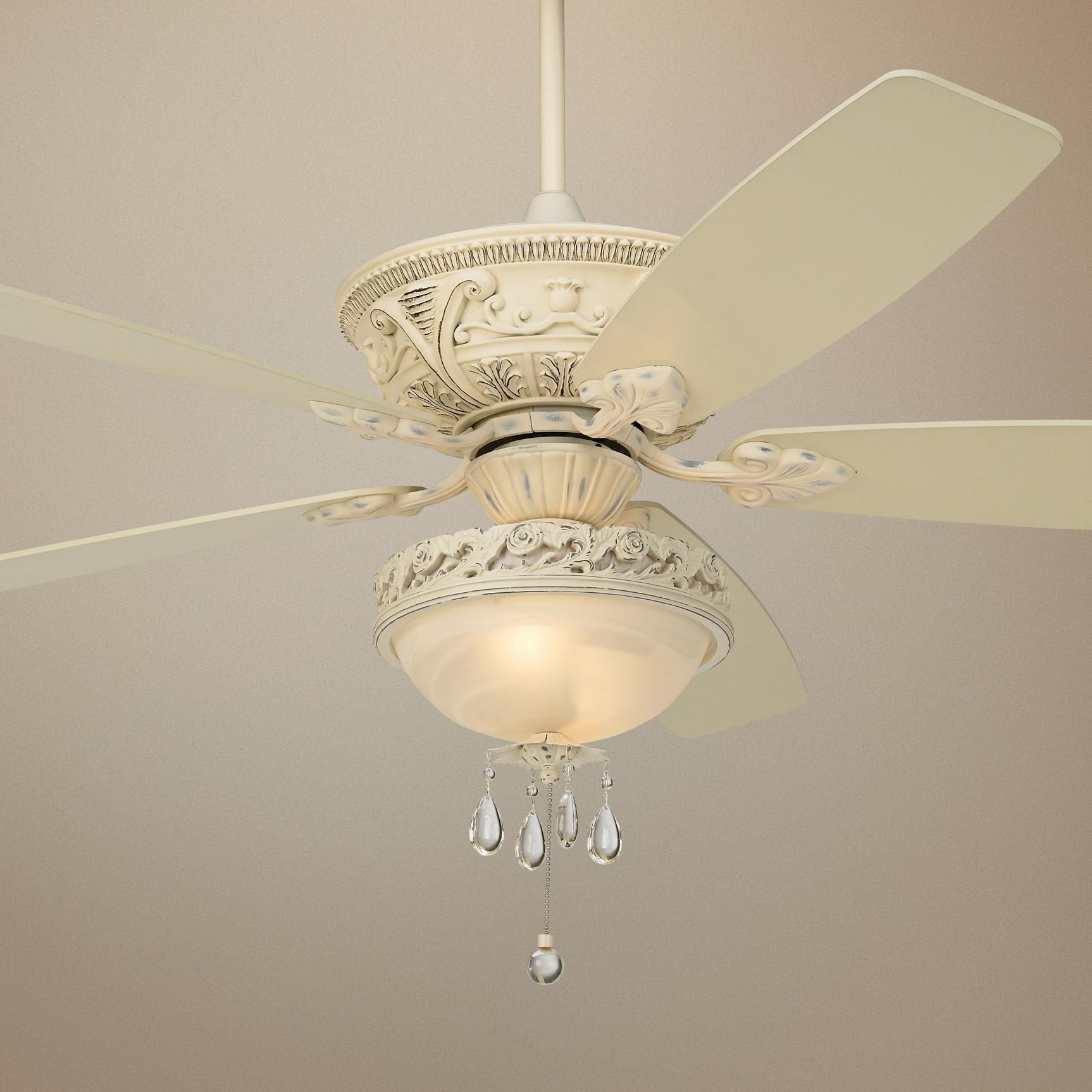 "60"" Casa Vieja Montego Rubbed White Finish Ceiling Fan"
