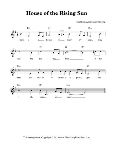 House Of The Rising Sun Free Lead Sheet With Melody Lyrics And