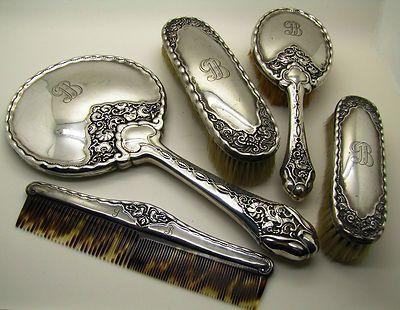 Antique Silver Vanity Set Bruckman Söhne Jugendstil Art Nouveau Mirror Brush Antique Vanity Set Antique Vanity Vanity Set