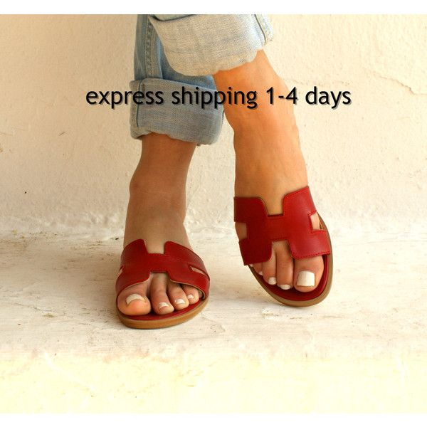 a8aeea8f53a6 Hermes Oran Style Slides H-Shape Leather Sandals Greek H Sandals Red ...