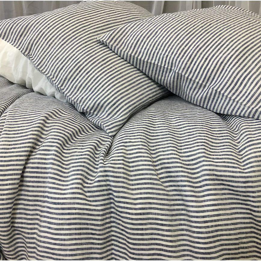 Bengal Stripe Denim Linen Duvet Cover Denim And White Striped Duvet Cover Handcrafted In 100 Linen That Is Striped Duvet Covers Striped Duvet Striped Bedding
