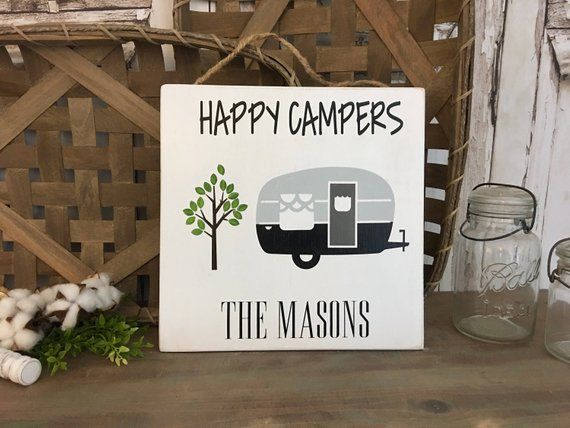 Personalized Happy Campers Sign Camping Sign 12x12 Handmade Wooden Sign Farmhouse Sign Camper Sign