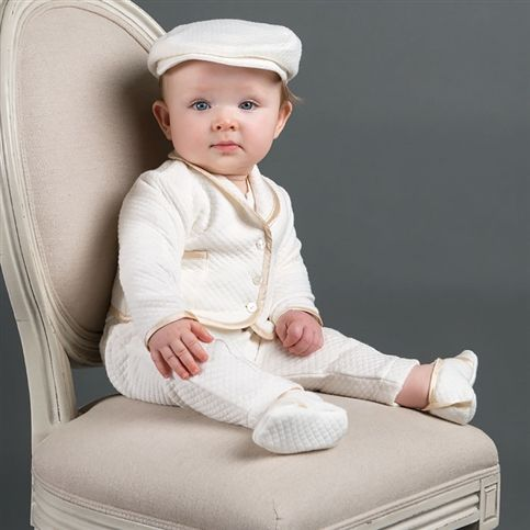 Boy Girl baby Creamy White short sleeve Christening Shower outfits suits hat set
