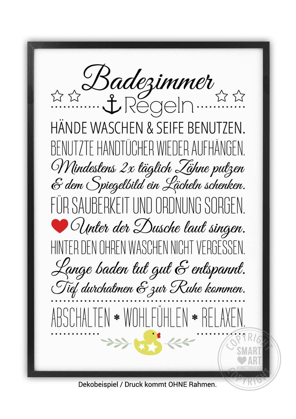Bad Hausordnung Smart Art Kunstdrucke Badezimmerbild Etsy Bathroom Pictures House Rules Smart Art