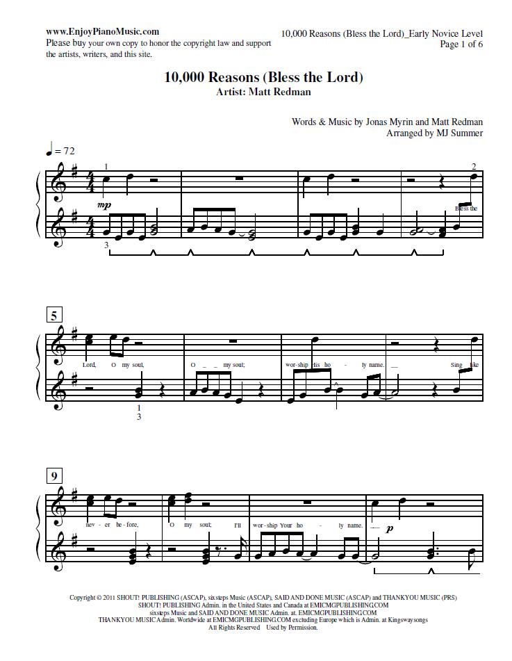 1000 Reasons Early Novice/Intermediate Level Sheet Music for