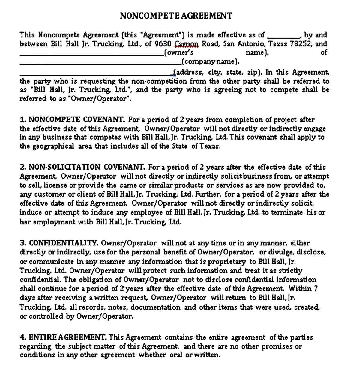 Pin On Business Template Non compete agreement texas template