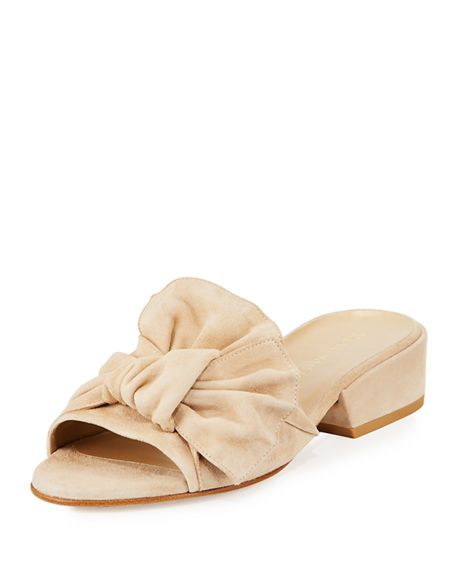 a112c0df3e4021 Giftwrap Suede Bow Slide Sandal