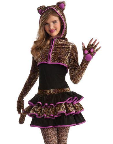 9457017239c8 Young Girls Cute Leopard Kitty Cat Animal Tween Kids Halloween Costume s M  | eBay