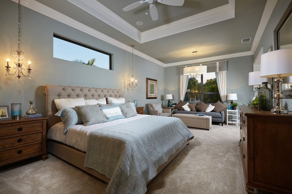 Transitional Master Bedroom With Chandelier Pendant Light Ceiling Fan High Ceiling Medium