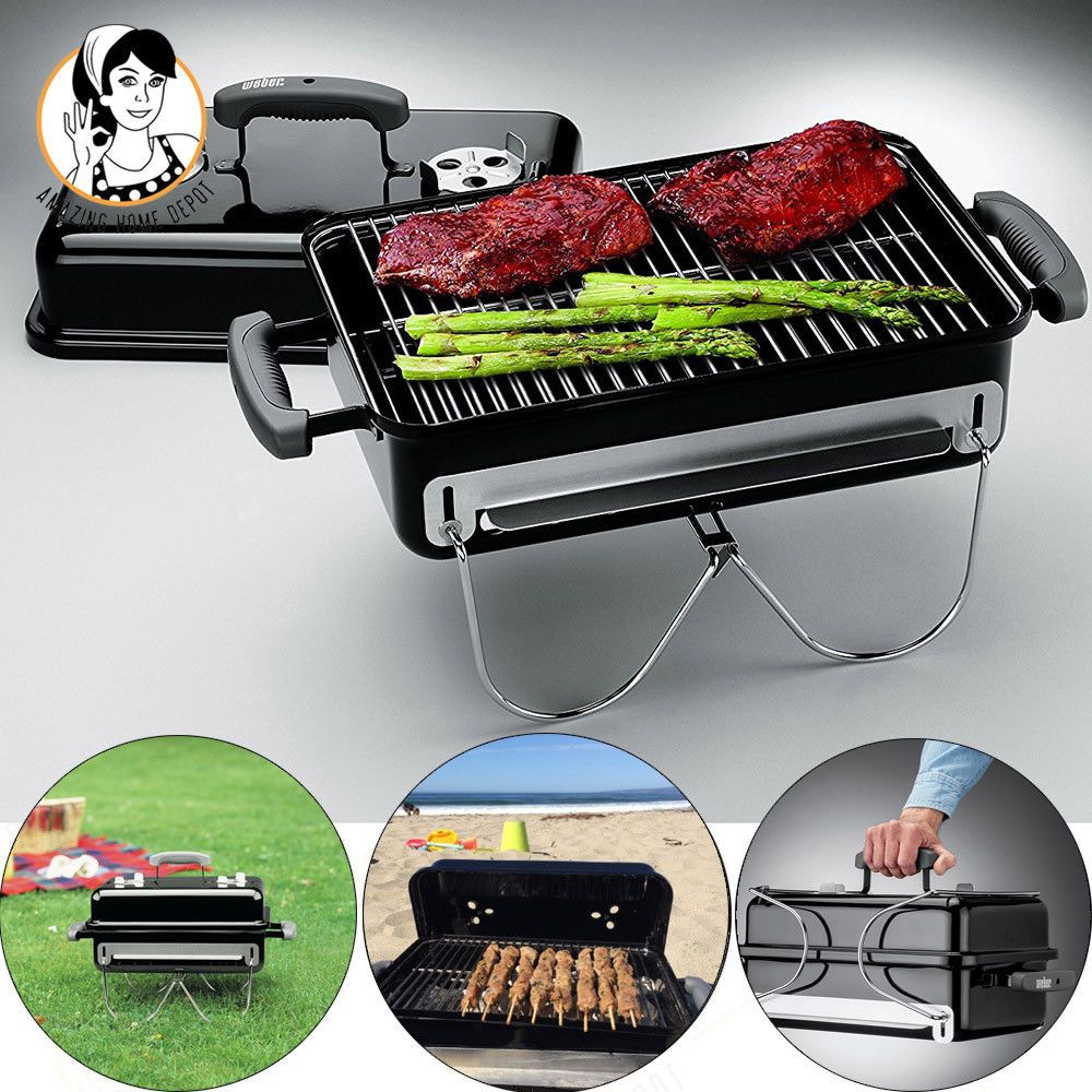 Portable Weber Charcoal Bbq Grill Barbecue Steak Burger Cooking Party Camping Charcoal Bbq Grill Barbecue Grill Portable Charcoal Grill