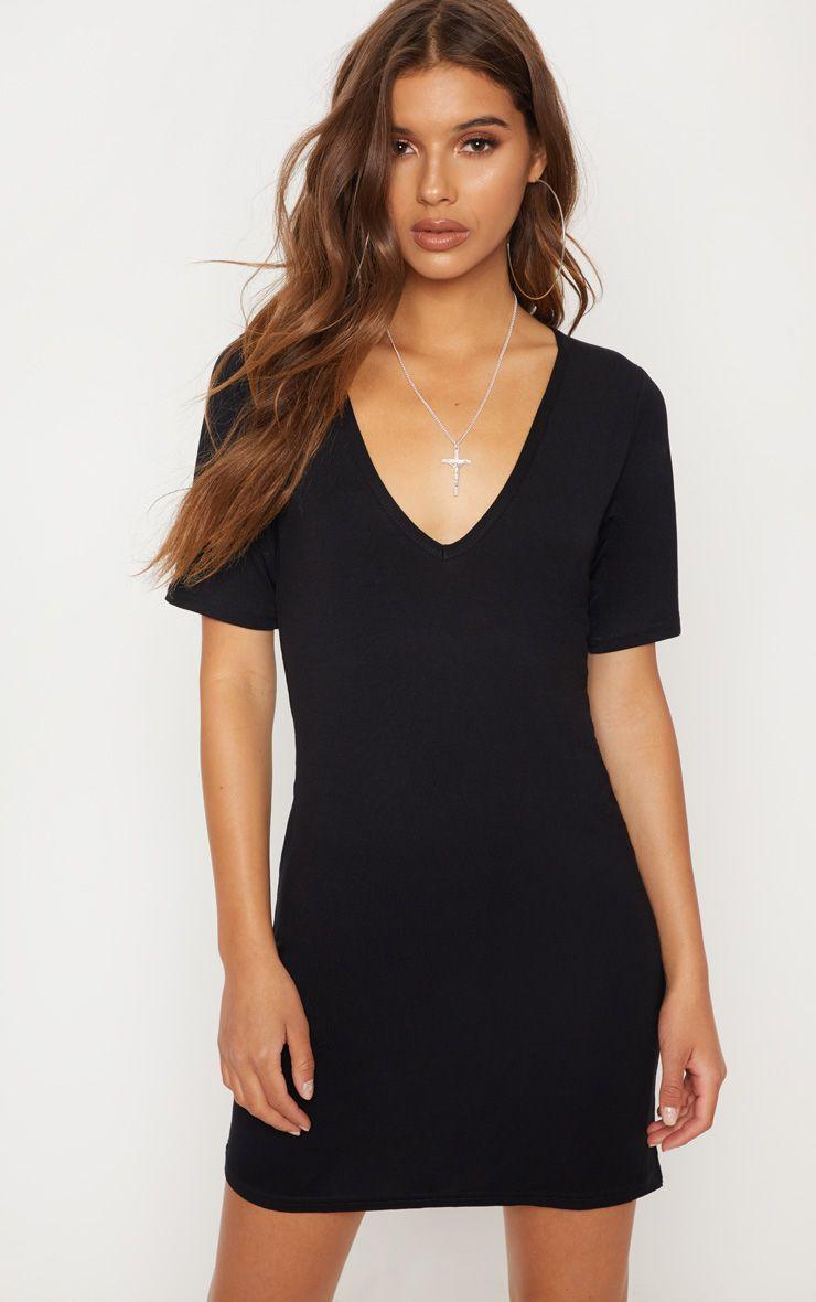Basic Black Plunge V Neck T Shirt Dress | T shirt dress, Oversized ...