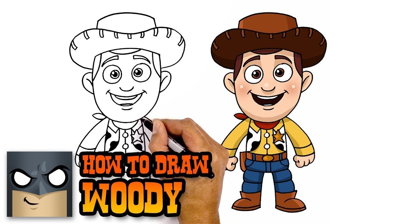 How To Draw Woody Toy Story Awesome Step By Step Tutorial Woody Toy Story Toy Story Coloring Pages Easy Cartoon Drawings