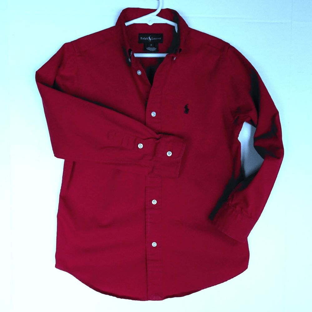 Ralph Lauren Kids Boys Size 7 Red Dress Up Shirt Button Down Long