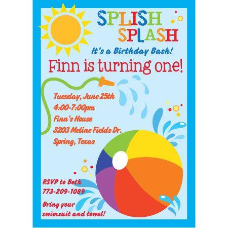 splish splash birthday invitation-water, beach ball, splash, Party invitations