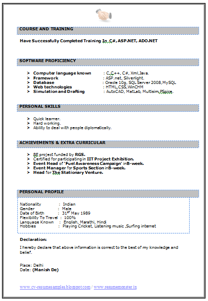 It Resume Stunning Fresher Btech It Resume In Word Doc 2  Career  Pinterest  Word Doc