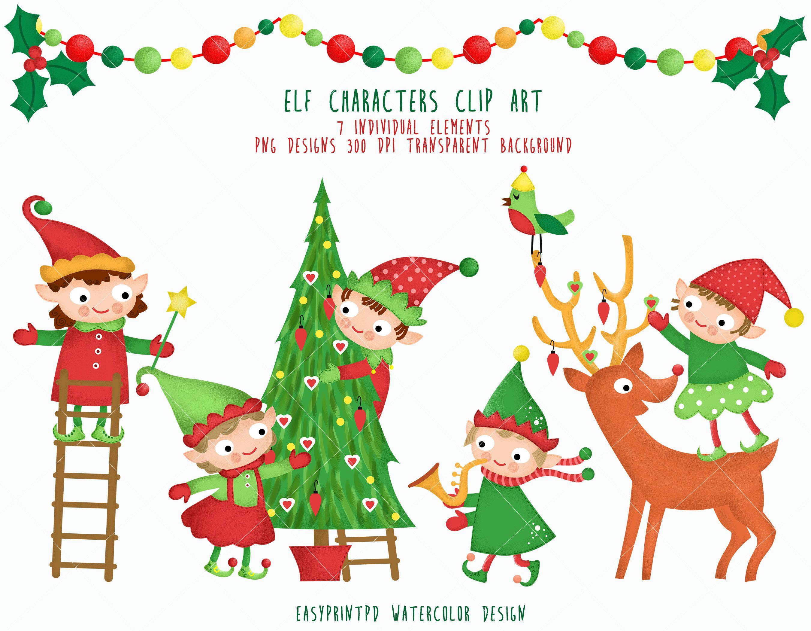 Elf Characters Clipart, Christmas Santa Clip Art Instant ...