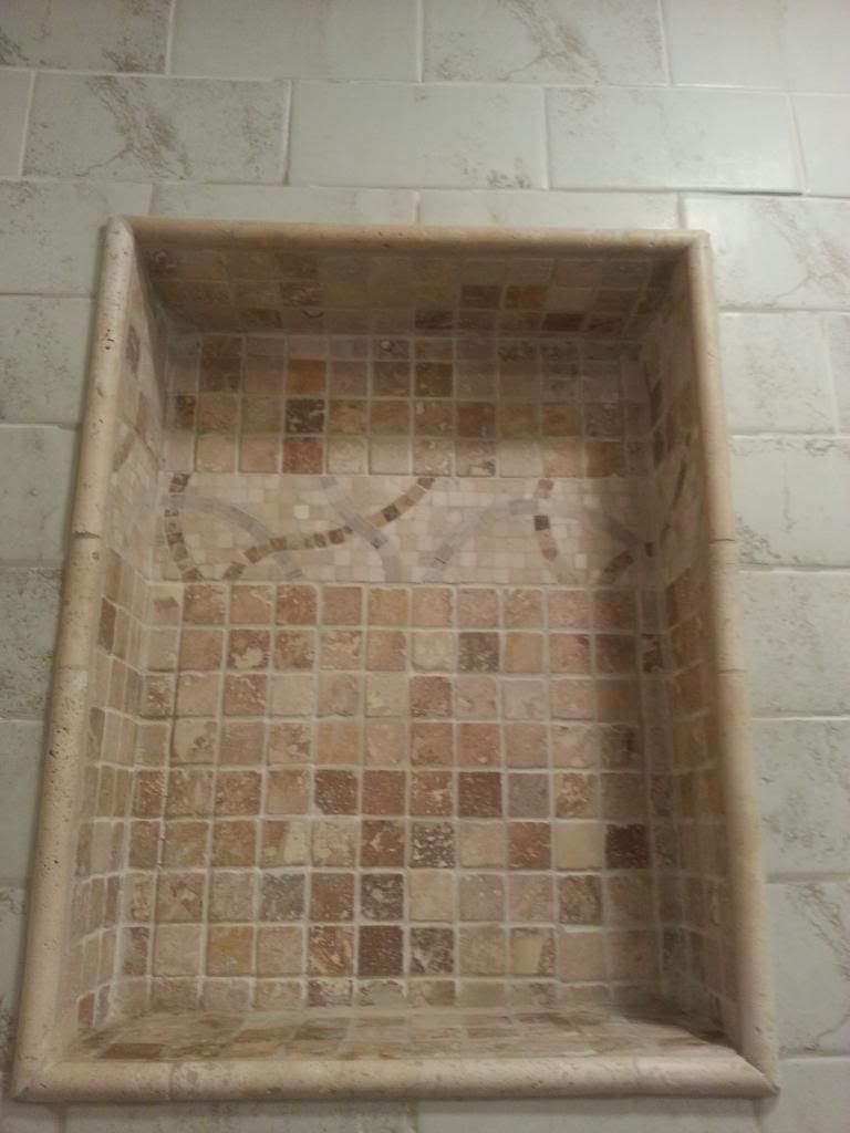 Pencil Trim Around Tile Alcove Tile Shower Niche Shower Niche Lake House Bathroom