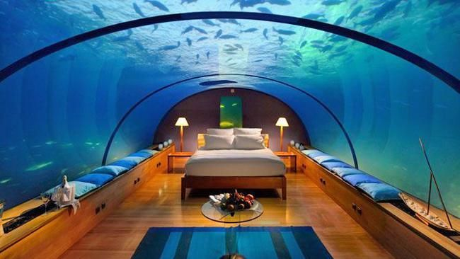 Conrad Maldives Rangali underwater restaurant furnished and decorated specially for a honeymoon couple.  http://www.maldivesholidayoffers.com/resorts/conrad/conrad.php  For reservations: sales@islandvoyagemaldives.com or sales@ivm.mv HOTLINE: +9609666005