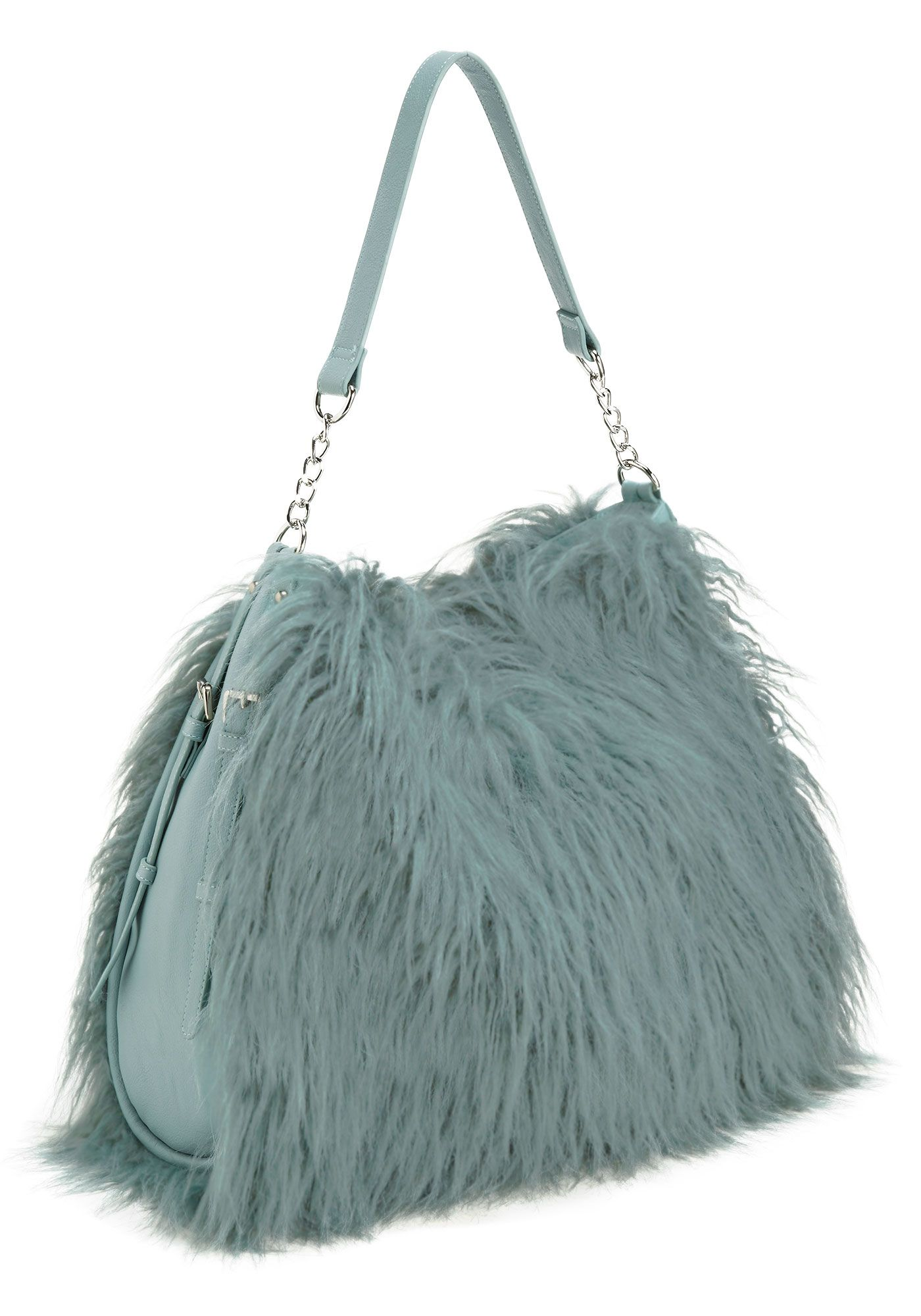 f8609c83a4e2 Dusty Teal Tibetan Lamb Faux Fur Hobo Bag