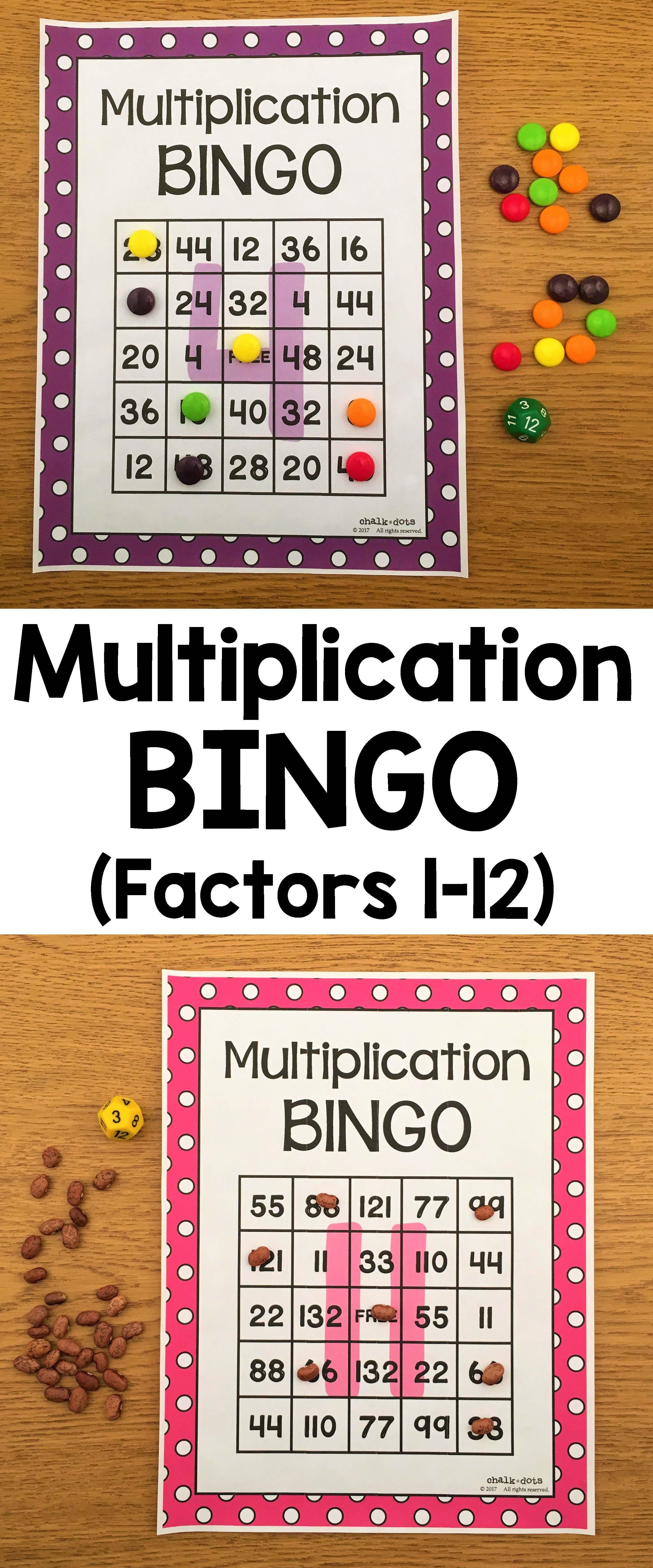 Multiplication Bingo Factors 1 12