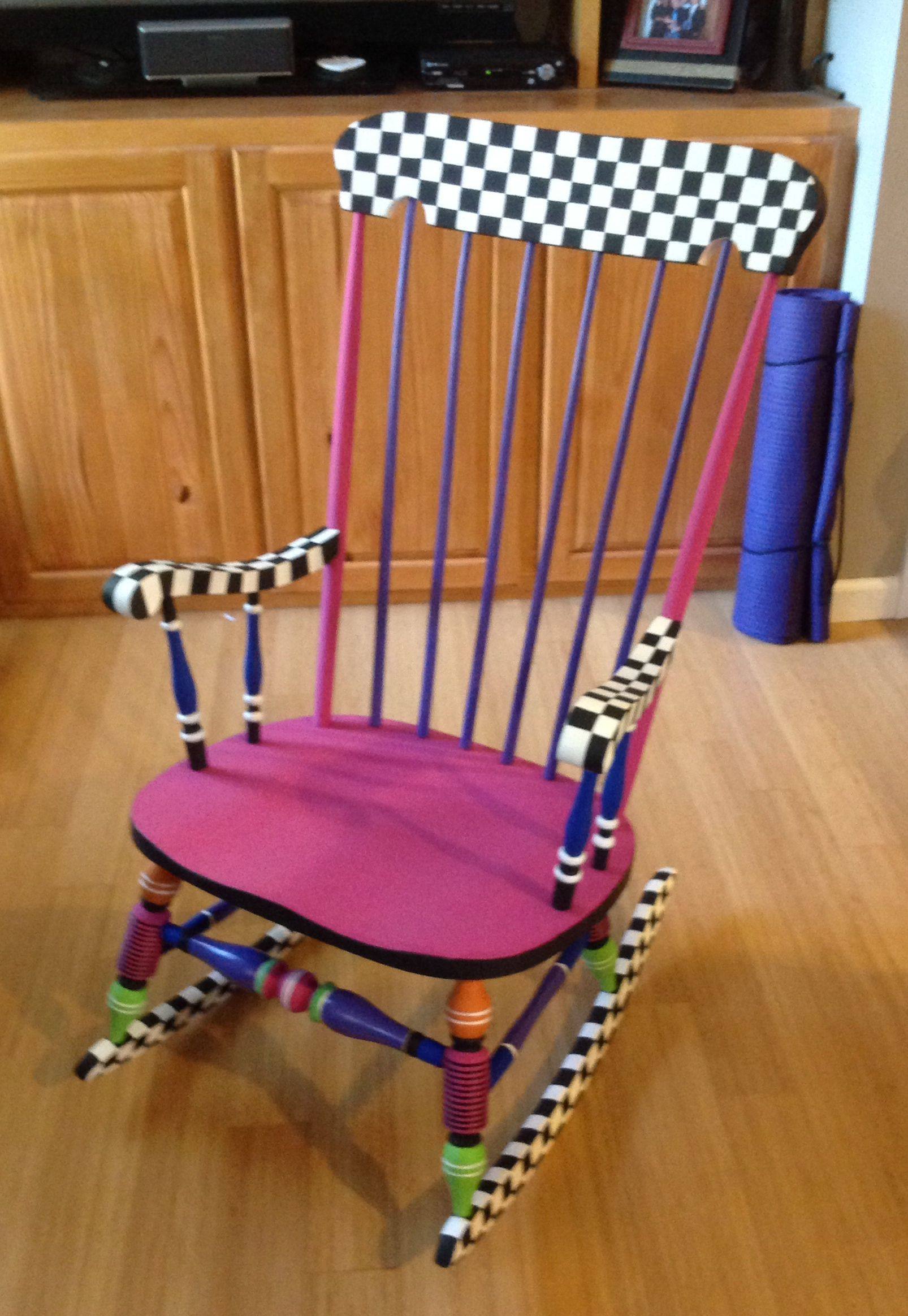 Painted antique rocking chair
