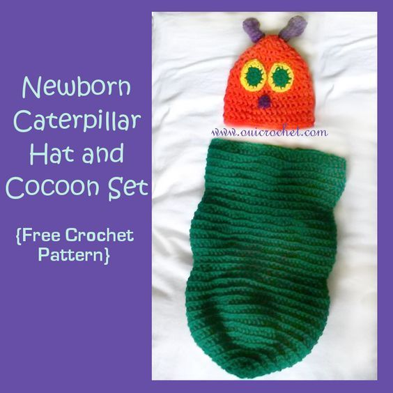 Newborn Caterpillar Hat and Cocoon {Free Crochet Pattern} | I\'m ...