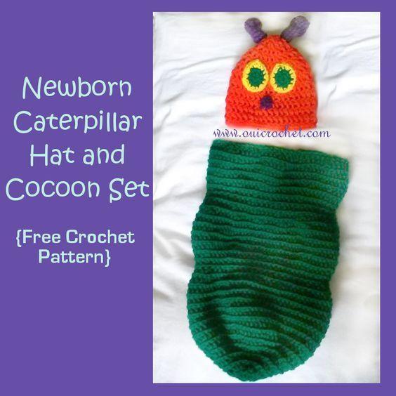 Newborn Caterpillar Hat and Cocoon {Free Crochet Pattern} | I\'m ...