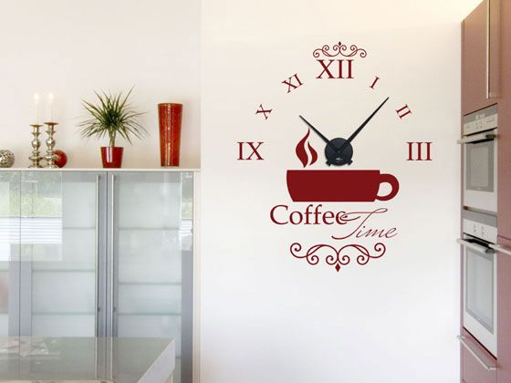 Wandtattoo Uhr mit #Uhrwerk #Wanduhr Küche #Coffee Time Kaffee Tasse