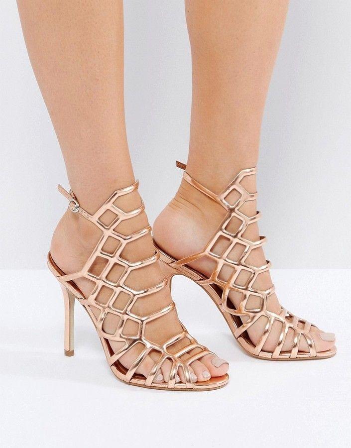 192531b9b5e Steve Madden Slithur Rose Gold Caged Heeled Sandals