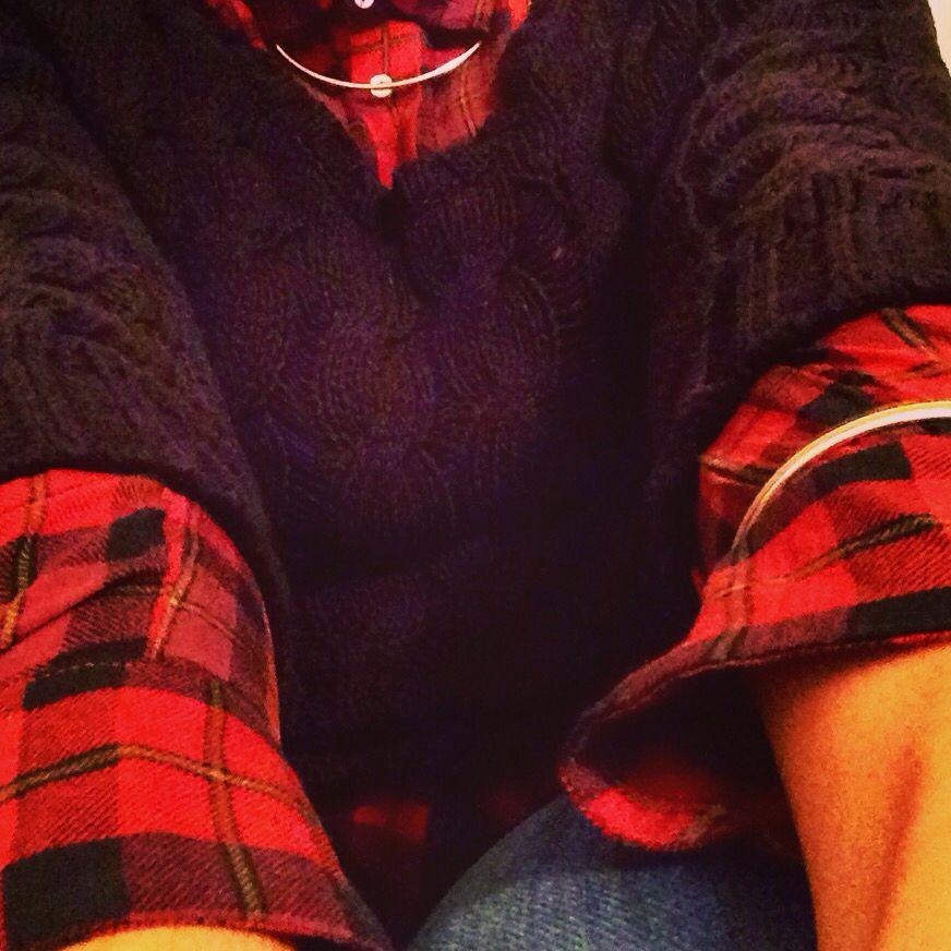 Tartan. Plaid. Chunky knit. Denim. Autumn. Fall.