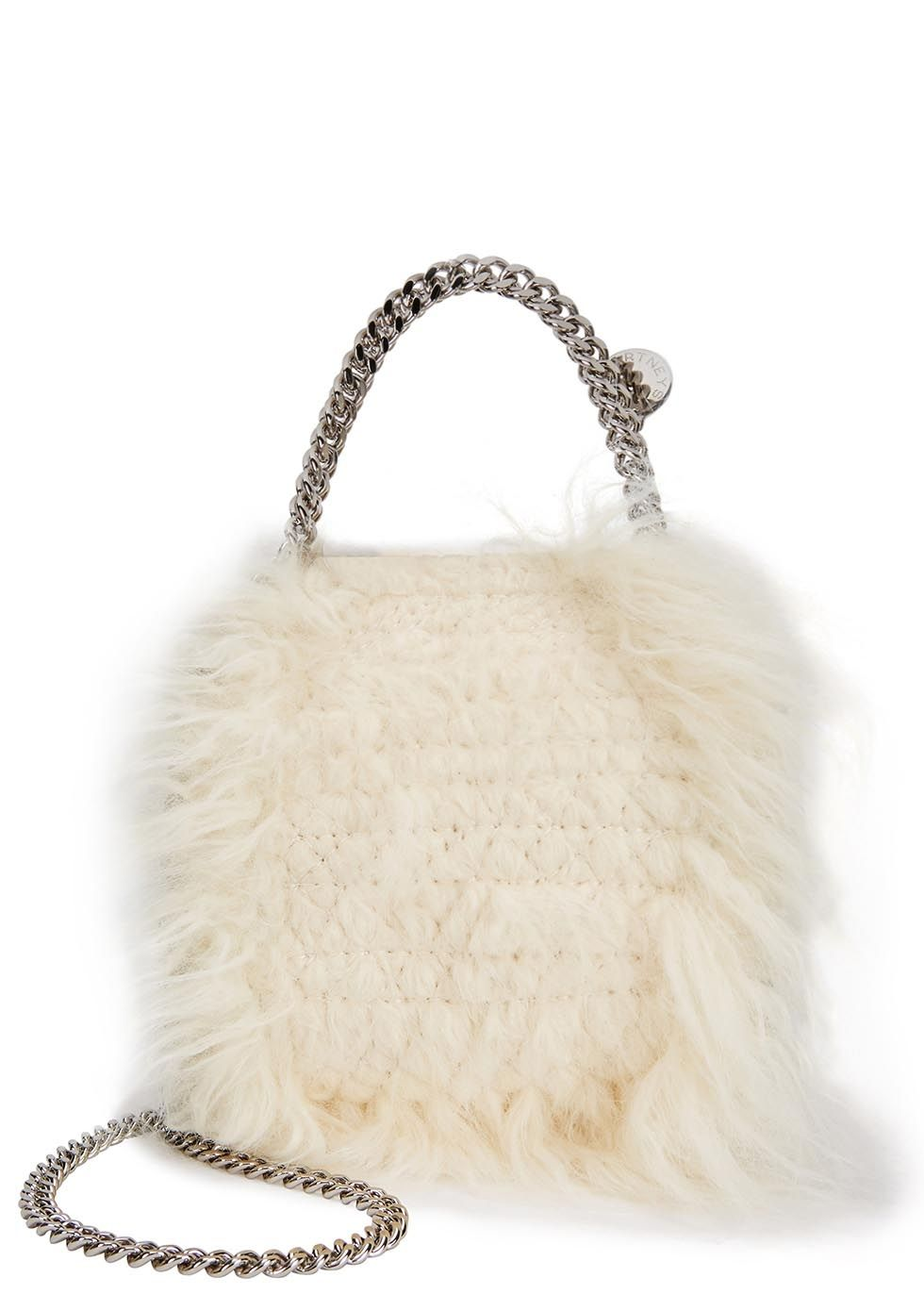 f03ec9dc51 Hand-finished Stella McCartney cream faux fur tote Chain shoulder strap and  top handle