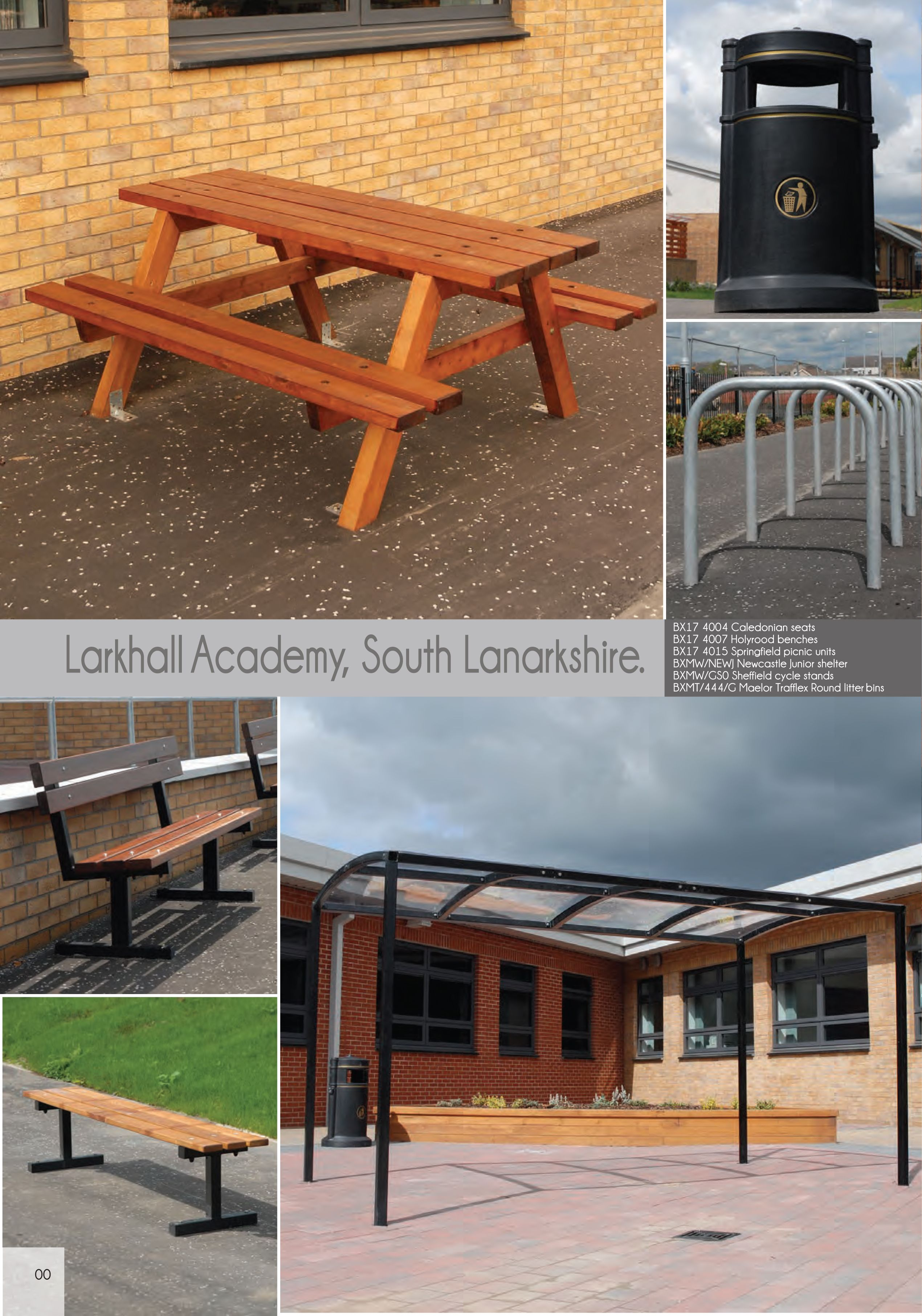 Larkhall Academy South Lanarkshire Street Furniture Benches Seating Cycle Stands