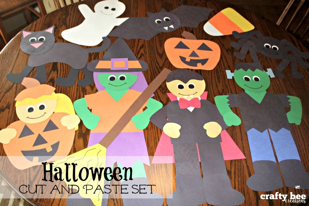 Halloween Cut and Paste Set Halloween patterns, Easy halloween and - how to make halloween decorations for kids