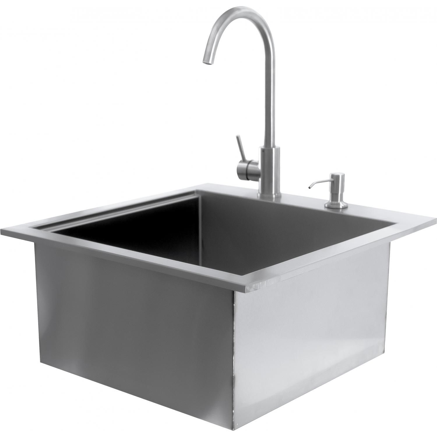 Bbqguys Sonoma Series 21 Inch Outdoor Rated Stainless Steel Drop In Sink With Hot Cold Faucet Bbqguys In 2020 Sink Bar Sink Outdoor Sinks