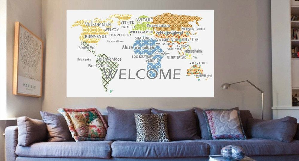 Welcome wall decals international languages world map wall decal welcome wall decals international languages world map wall decal school office decor gumiabroncs Gallery