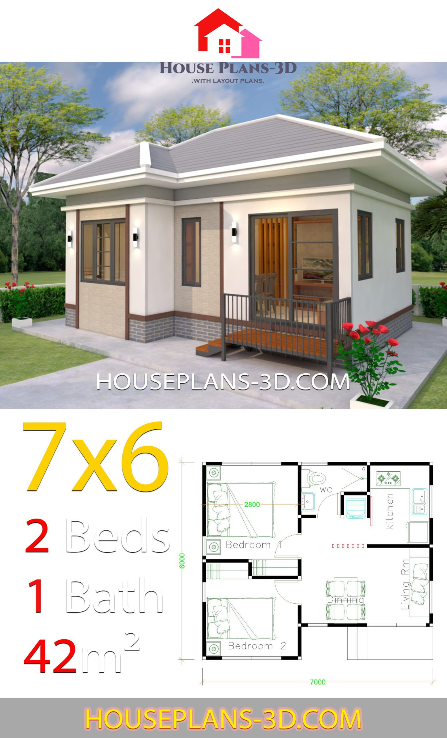 House Plans Design 7x6 With 2 Bedrooms Hip Roof House Plans