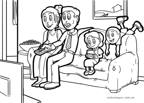 malvorlage gemeinsam fernsehen  malvorlagen kostenlose