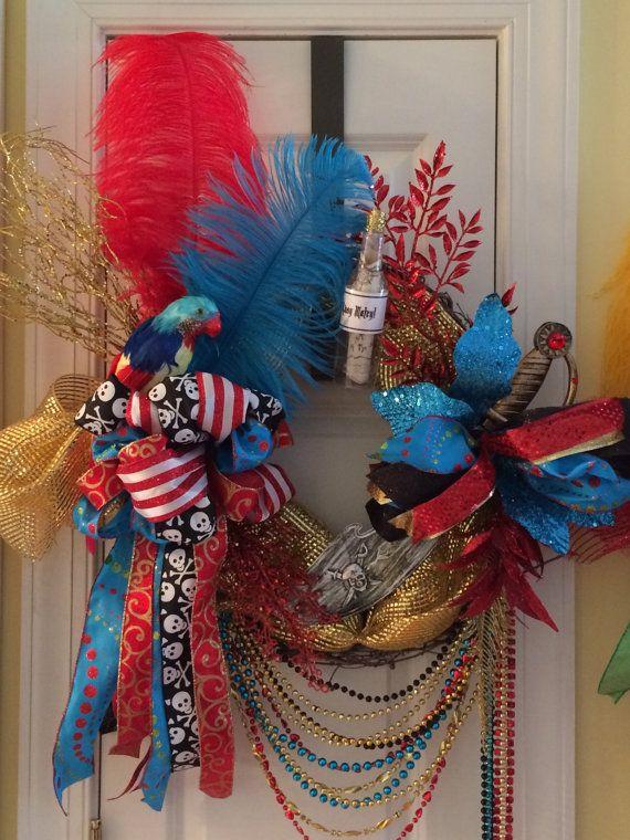 Festive colored Gasparilla Wreath by WenchesandWreaths on Etsy